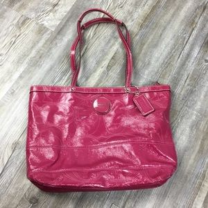 Coach Pink Berry Patent Leather Shoulder Bag